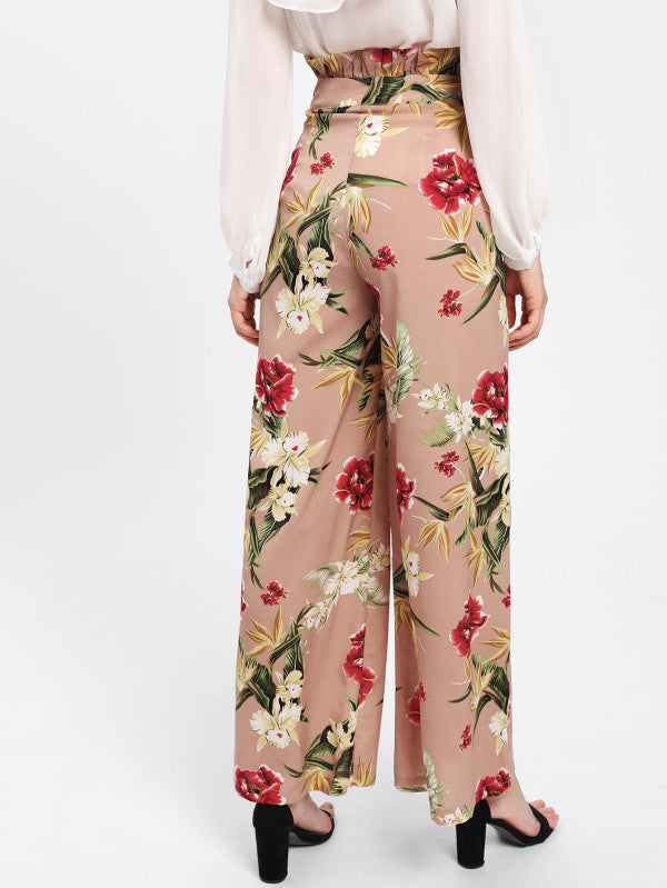 Frilled Waist Floral Palazzo Pants