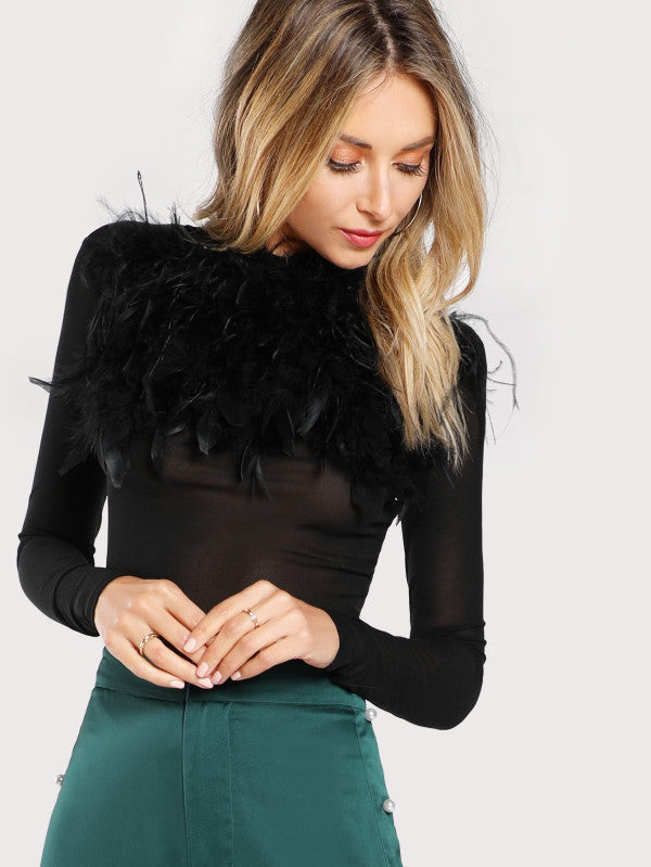 RZX  Faux Feather Embellished Solid Tee