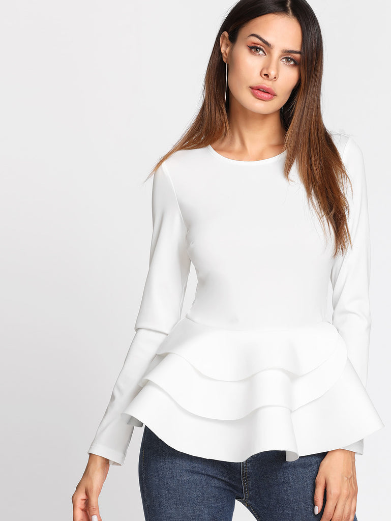 RZX Tiered Ruffle Hem Peplum Top