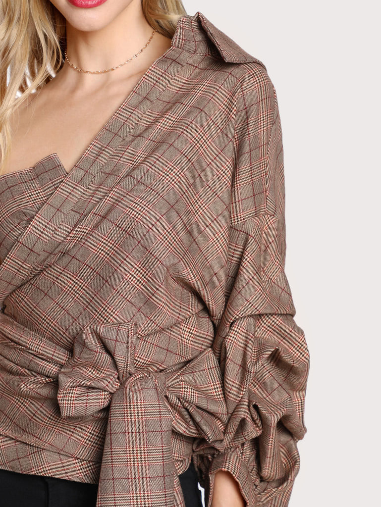 RZX  One Shoulder Gathered Sleeve Checked Tie Blouse