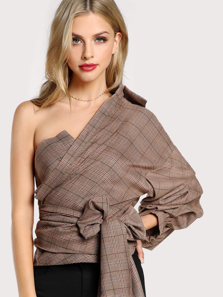 One Shoulder Gathered Sleeve Checked Tie Blouse