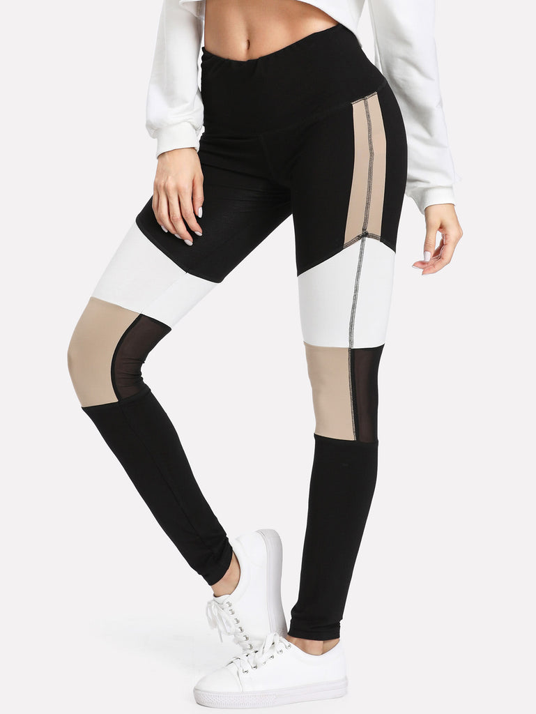 RZX  Mesh Insert Cut And Sew Leggings