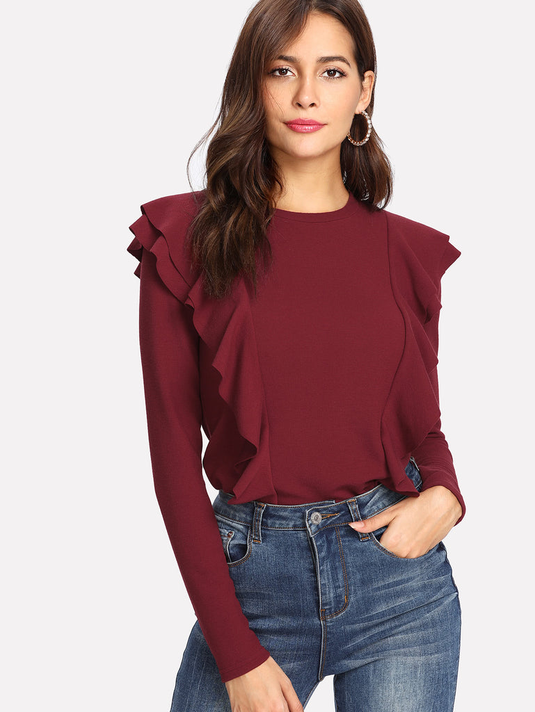 Flounce Embellished Ribbed Knit Tee