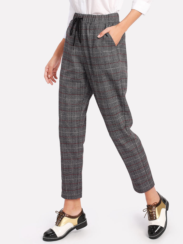 Drawstring Plaid Carrot Pants