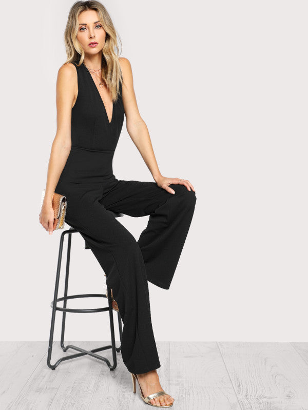 Crisscross Back Flare Hem Jumpsuit