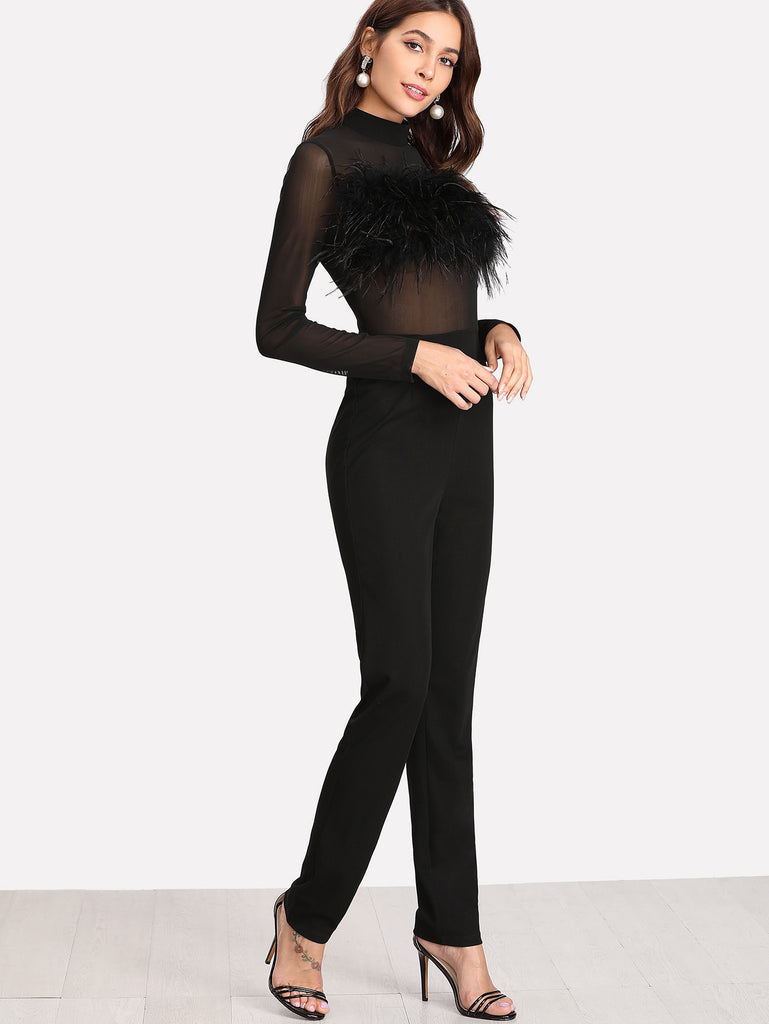 Faux Fur Embellished Tailored Jumpsuit