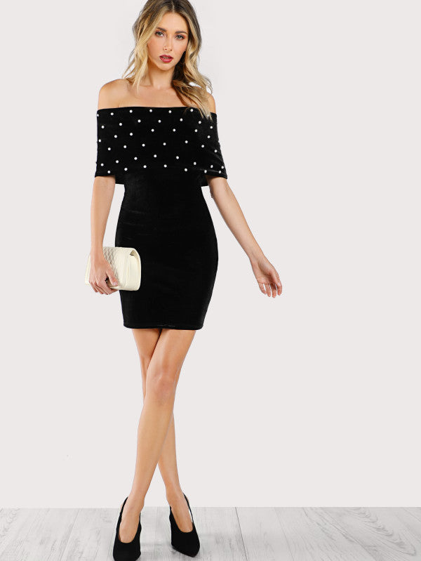 Pearl Beading Foldover Bardot Dress