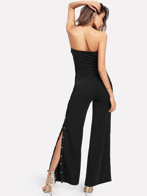 RZX Tape Detail Snap-Button Side Wide Leg Jumpsuit