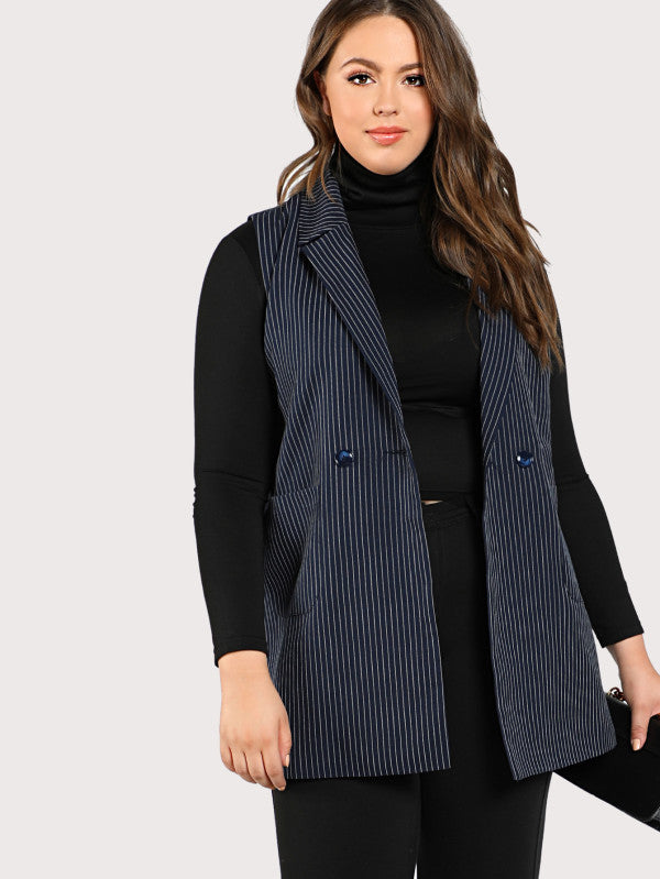 Notch Collar Sleeveless Pinstripe Longline Blazer
