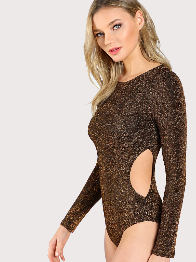 Cut Out Side Glitter Bodysuit