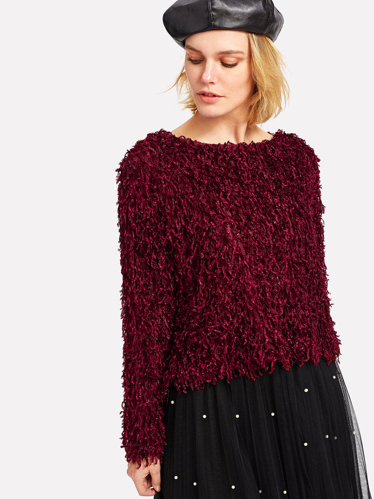Drop Shoulder Solid Fuzzy Blouse