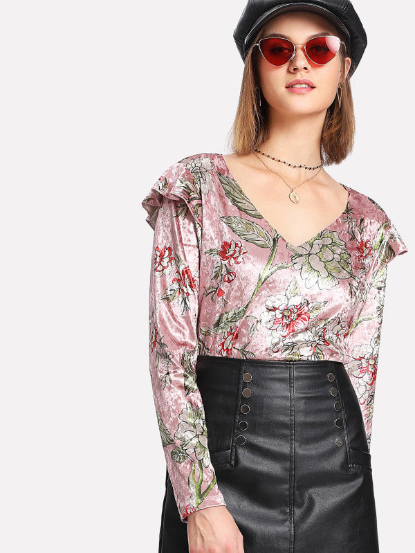 Flounce Detail Shoulder Floral Crushed Velvet Top