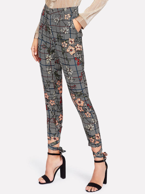 RZX Flower And Plaid Print Pants