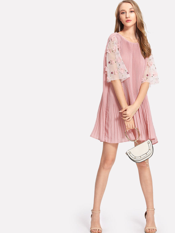 Flower Applique Mesh Sleeve Pleated Dress