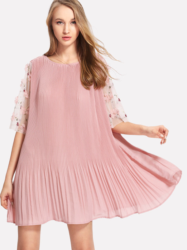 RZX  Flower Applique Mesh Sleeve Pleated Dress