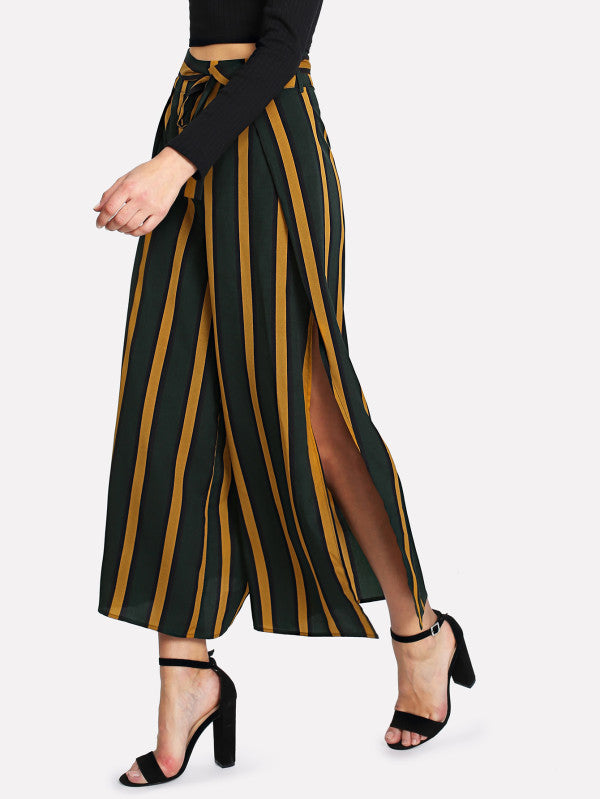 RZX Self Belt Split Side Striped Wide Leg Pants