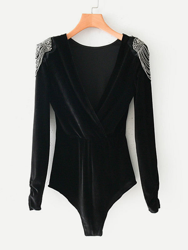 RZX Beaded Shoulder Surplice Velvet Bodysuit