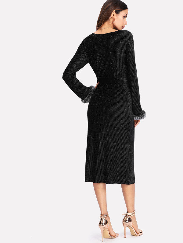 RZX Faux Fur Cuff Self Belt Ribbed Velvet Dress