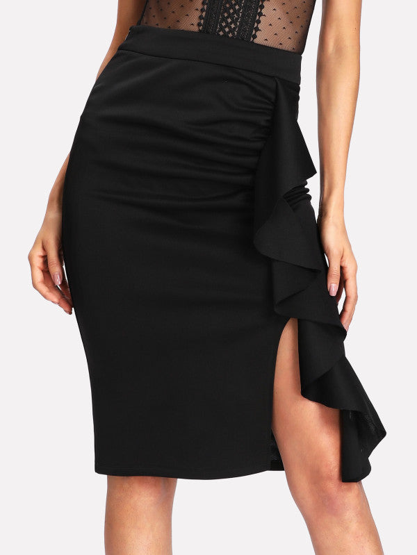 Flounce Trim Split Pencil Skirt