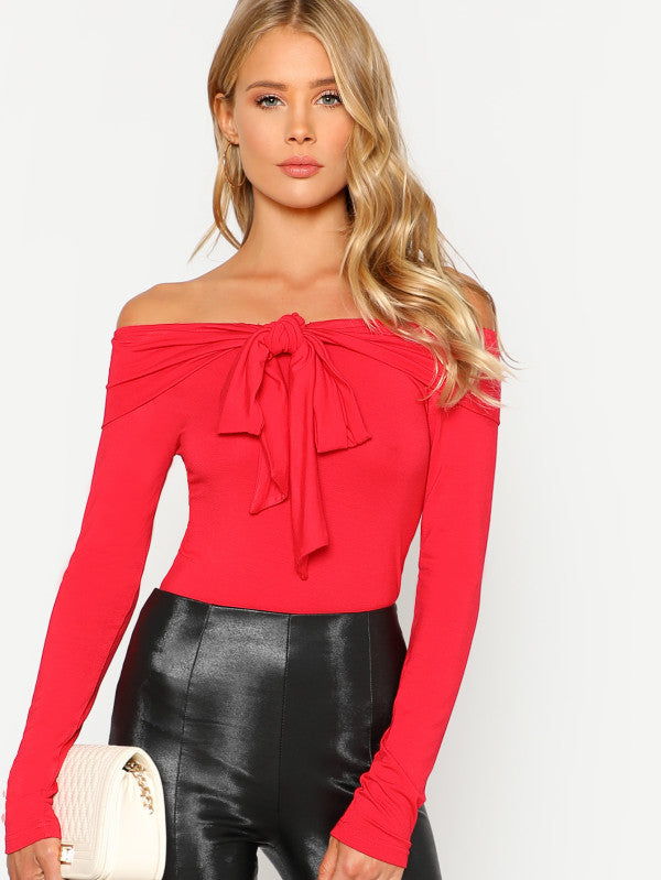 RZX Bow Tie Off Shoulder Tee