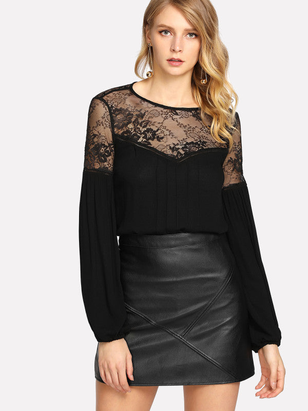 RZX Floral Lace Shoulder Bishop Sleeve Top