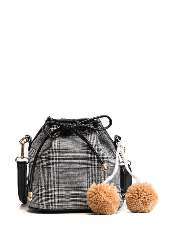 Pom Pom Decor Drawstring Crossbody Bag