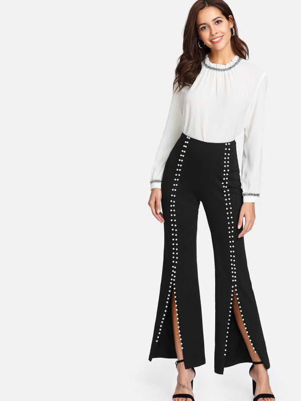 RZX Pearls Beaded Detail Split Front Pants