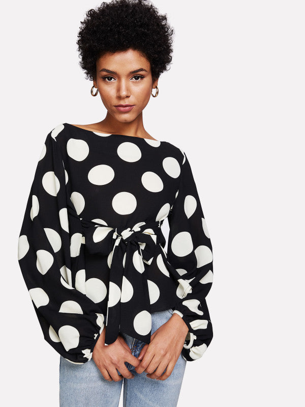 Exaggerated Lantern Sleeve Belted Polka Dot Top