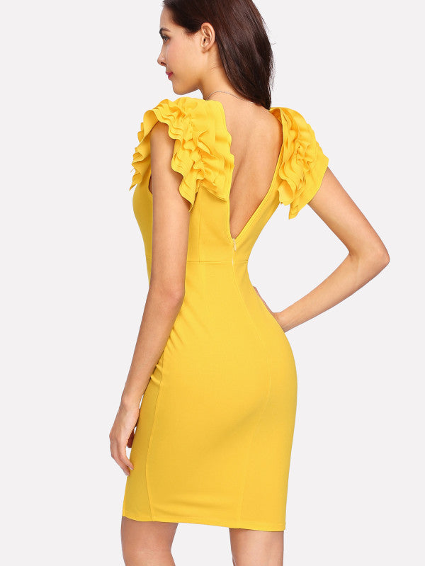 Layered Ruffle Shoulder V Back Split Dress