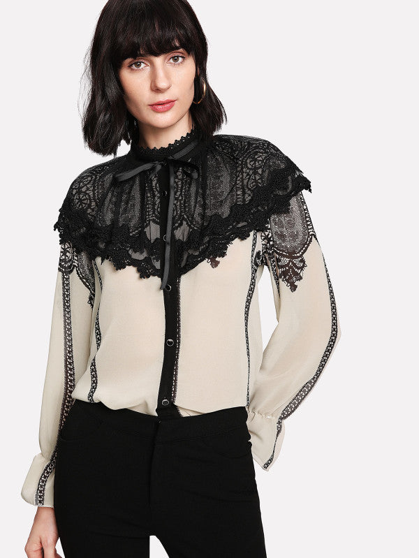 Lace Contrast Bow Tie Neck Blouse