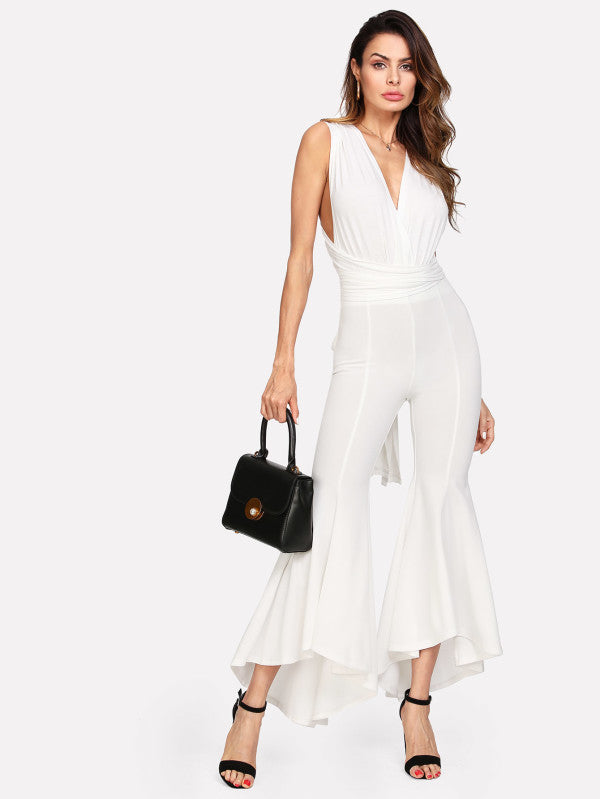 Flared Dip Hem Plunging Jumpsuit