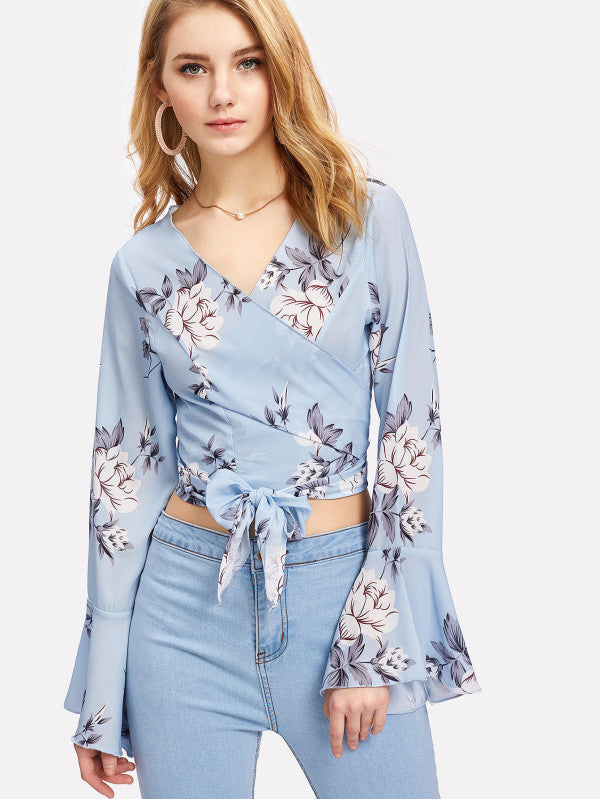 Trumpet Sleeve Floral Wrap Top