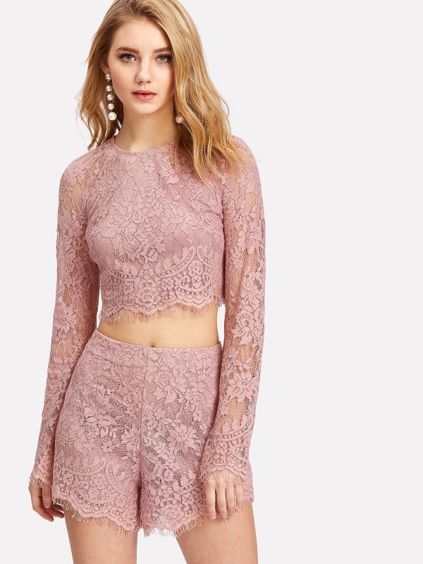 RZX Eyelash Lace Crop Top With Shorts