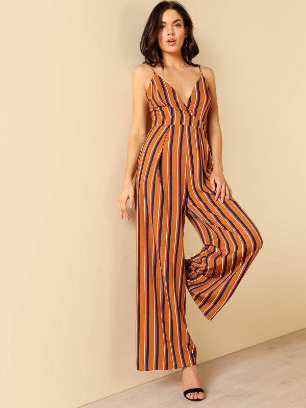 Deep V Neck Wide Leg Jumpsuit