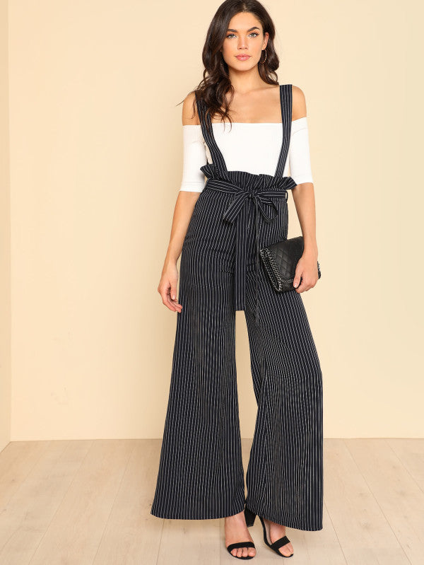 Belted Wide Leg Pinstripe Pants With Strap