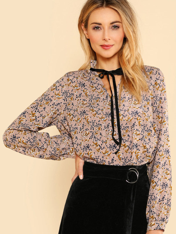 Tie Neck Frilled Collar Blouse