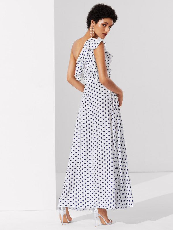 Flounce One Shoulder Polka Dot Dress