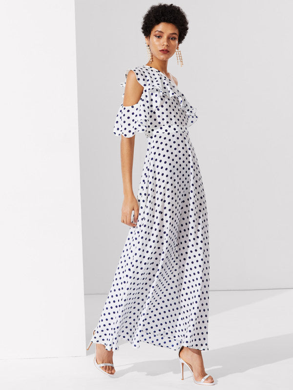 RZX Flounce One Shoulder Polka Dot Dress