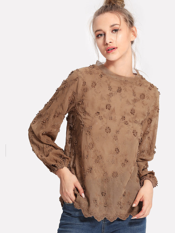Flower Embroidery Applique Blouse