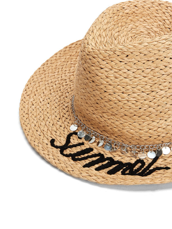 Chain Decorated Straw Fedora Hat
