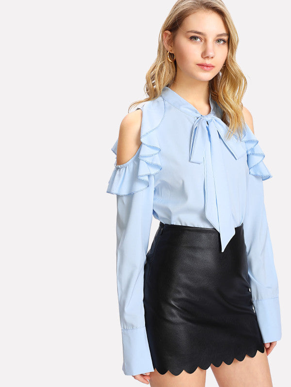 Tie Neck Flounce Open Shoulder Top