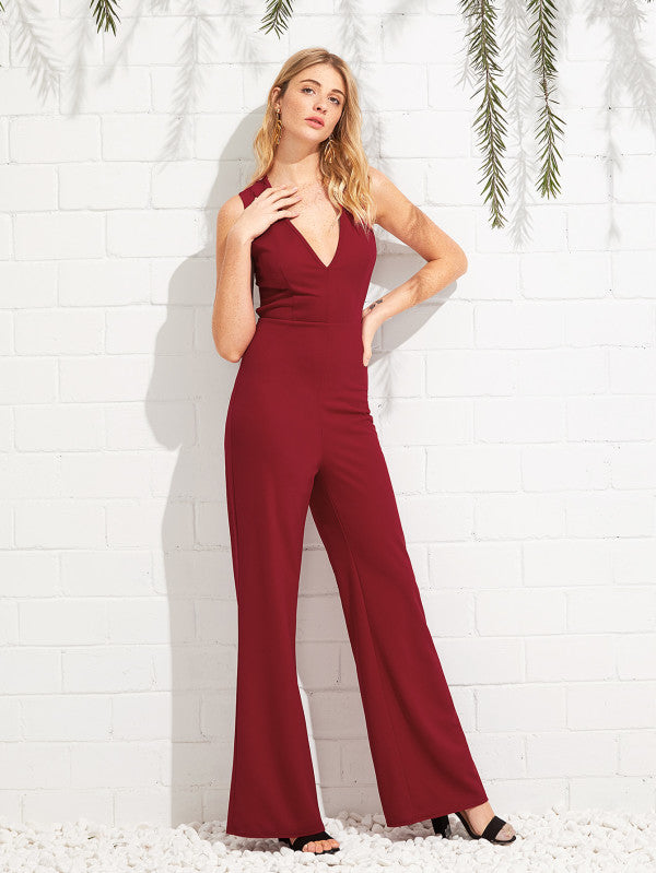Crisscross Open Back Back Plunging Jumpsuit