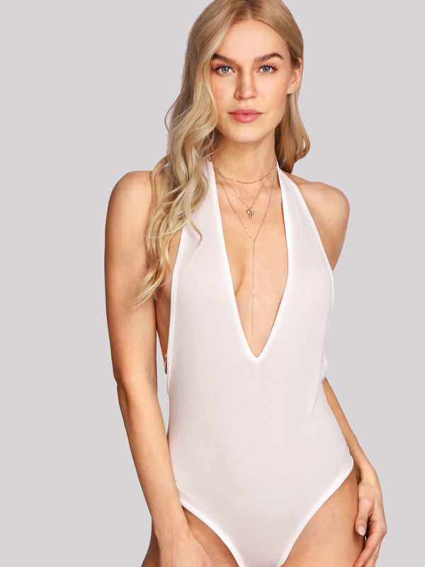 Chain Detail Plunging Bodysuit
