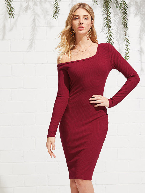 RZX Solid Ribbed Knit Dress