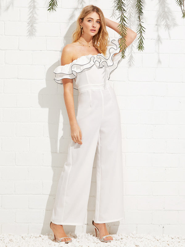 RZX Exaggerate Ruffle Off Shoulder Jumpsuit