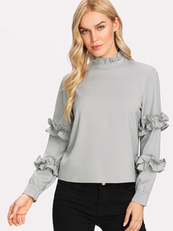 Mock Neck Ruffle Sleeve Blouse