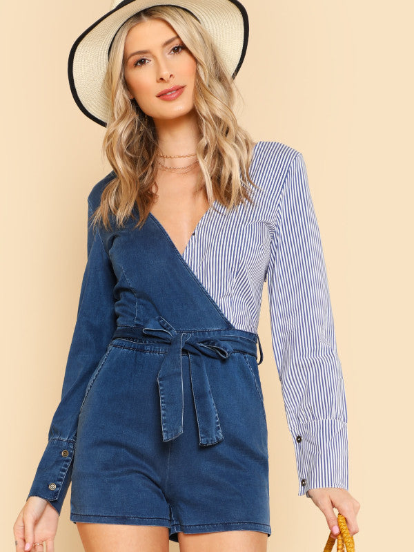 RZX  Cut And Sew Striped Wrap Romper