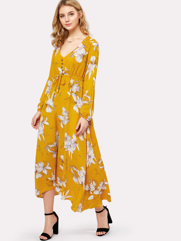 Flower Print Drawstring Waist Button Front Dress
