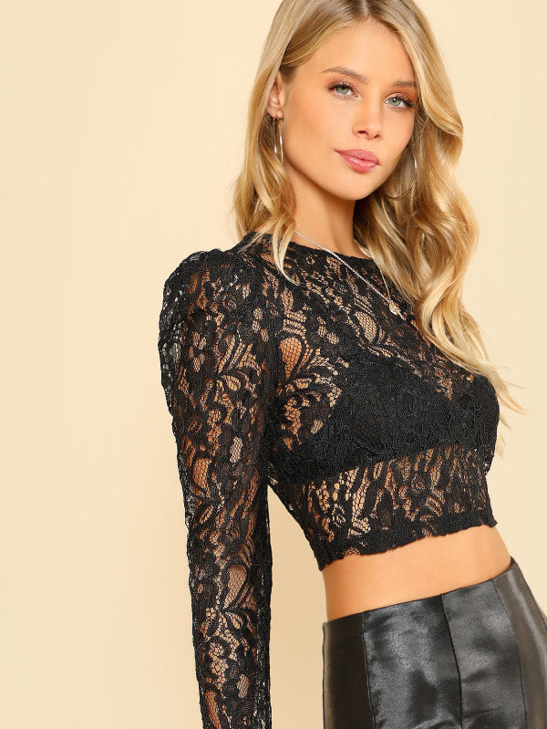Puff Sleeve Crop Lace Top