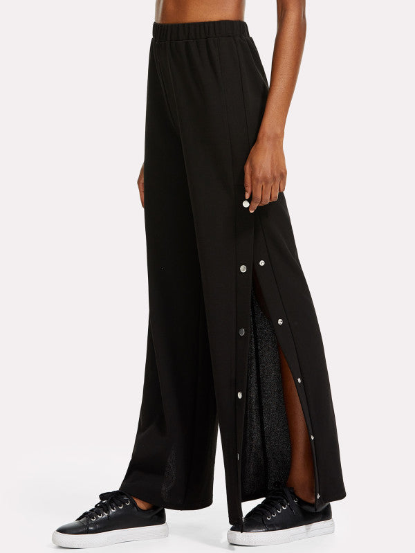 RZX Snap Button Side Wide Leg Pants